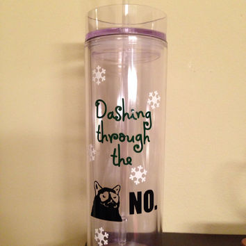 Plastic Tumbler with straw and lid Dashing Through by BellaCuttery