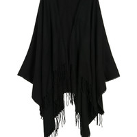Black Fringe Tasseled Edge Knitted Cape