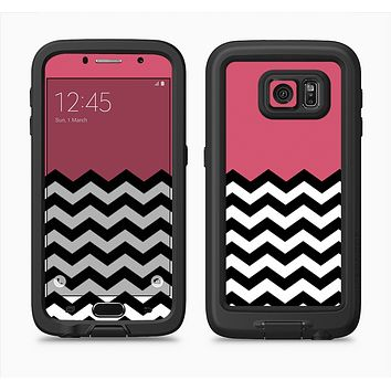 The Solid Pink with Black & White Chevron Pattern Full Body Samsung Galaxy S6 LifeProof Fre Case Skin Kit