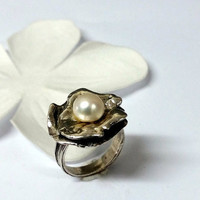 sterling silver ring,pearl ring,flower silver ring,silver jewelry,women's gift,silver leaf ring,natural pearl ring,handmade,gift idea