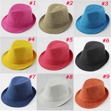 Baby Fedora Hat Solid Color Children Hat Kids Linen Jazz Cap Cowboy Hat Fedoras Dicers Free Shipping FH017