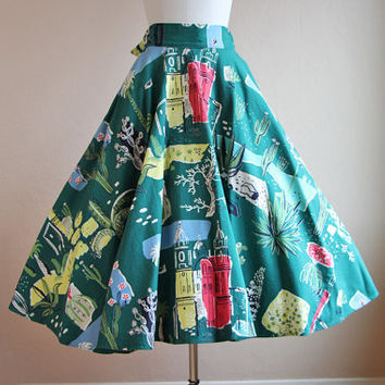 1950s Atomic Bark Cloth Circle Skirt - Vintage 40s 50s Western Mexican Novelty S - Best in the World