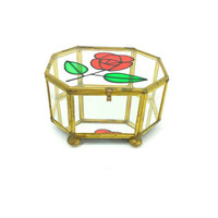 Stained Glass & Brass Curio Box,Jewelry Box, Glass Mirror Display Box, Rose Stained Glass, Ring Box, Keepsake Box, Vanity Decor, Gold Home