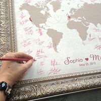"Large - Wedding Guest Book Alternative World Map  -  Custom Ordered - 6 Sizes available:   24""x36"" down to 12""x18"""
