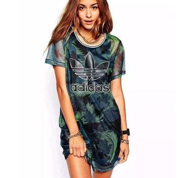 ONETOW Adidas' Fashion Green Leaves Feather Movement Leisure Round Neck Short Sleeve T-shir Dress