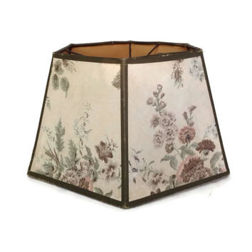 Vintage Lampshade-Cloth Lampshade-Floral Design-Six Sided-50's Vintage Shade-Table Lamp-Lighting-Home Decor-Shabby Chic