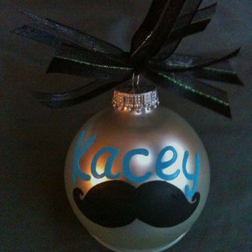Personalized Mustache Hand Painted Glass Ornament You Choose Color.