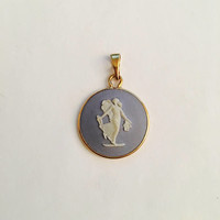 Vintage, Signed Round Wedgwood Blue Jasperware Fairy Necklace in 14k Bezel Setting