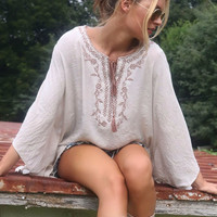 The Ashbrooke Taupe Embroidered Box Cut Asymmetrical Tunic With Rope Tassels