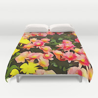 Painted Fall Flower Bouquet Duvet Cover by KCavender Designs