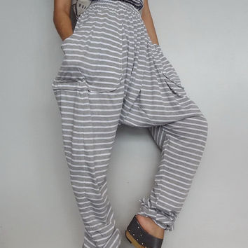Soft gray stripe drop crotch long trouser unisex harem pants unique cotton blend (pants05).