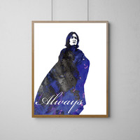 Severus Snape 2 Watercolor Print, Harry Potter Always Watercolor Poster, Wall Art, Home Decor, Wall Hanging