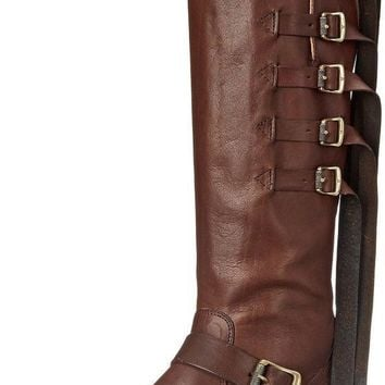 FRYE Veronica Strap Tall Chocolate Leather Women's Boots