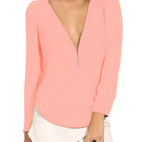 Pink Zipper Front Long Sleeve Chiffon Blouse - Choies.com