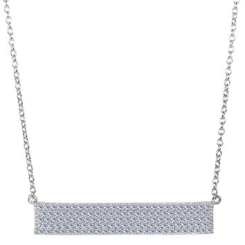Sterling Silver Wide Rectangle Sideways Bar Pendant With 5 Row Cz Fashion Necklace - 18 Inch