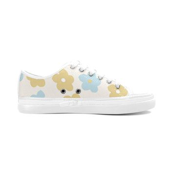 Yellow Floral Theme White Women's Nonslip Canvas Shoes