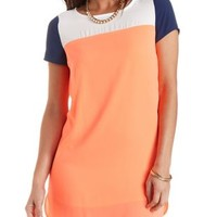 Color Block Chiffon Shift Dress by Charlotte Russe - Navy Combo