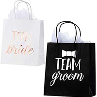 Bridesmaid and Groomsmen Gift Bags – 20-Pack Bridal Party Favor Treat Bags with Metallic Silver and Rose Gold Foil – Includes 20 Tissue Sheets – Team Groom and Team Bride Design, 8 x 4 x 9 Inches