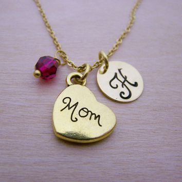 Mom Necklace - Gold Initial Necklace - Birthstone Necklace - Initial Disc Necklace - Personalized Necklace - Mother Necklace - Gift for Her