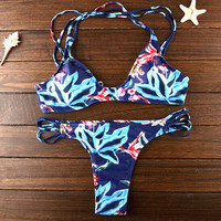 Retro Hollow OutBikini Set Beach Swimsuit Summer Gift 205