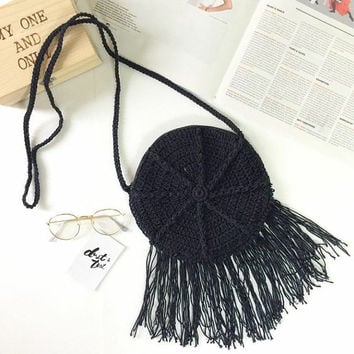 Summer Hippie Crochet bag Cross-body Bag Crochet Beach bag Summer bag Cross body Purse Black Beach Summer Purse Hobo Festival