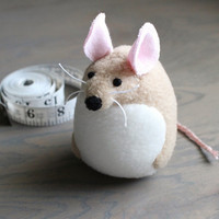Small HandmadeTan Mouse Stuffed Animal Plush Mouse