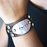 Inspirational Leather Bracelet Cuffs
