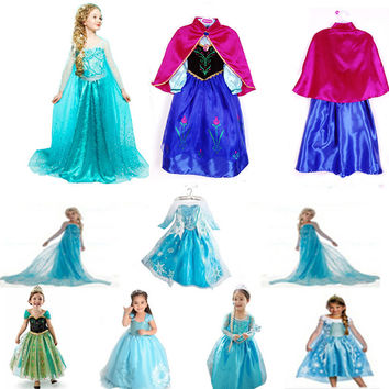 2017 Retail White Snow Of Queen Ice Princess Sofia Anna Elsa Dress Kids Party Girls Costume Children's Clothing Girl Dress
