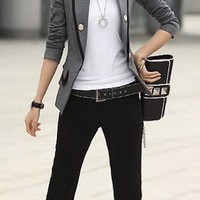 Button Design Stand Collar Side Pocket Long Sleeves Blazer