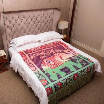 Cute Elephant Decor Tapestry Colored Printed Decorative Mandala Tapestries Polyester Wall Carpet