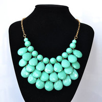 Turquoise - New Water Drops Teardrop Bib Necklace and Earrings Set ,Bubble Bib Statement holiday party wedding Necklace,bridesmaid gift