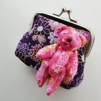 Purple and pink coin purse, teddy bear japanese fabric clutch, girls purse, metal frame coin purse, clutches