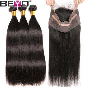 Beyo 360 lace Frontal With Bundle Straight Human Hair Bundles With Closure Brazilian Hair Weave Bundles With Frontal Non Remy