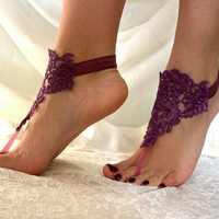 Purple Lace Barefoot Sandals, french lace, Nude shoes, Gothic, Foot jewelry,Wedding Shoes Victorian Lace, Lace Anklet ,Lace Barefoot Sandals