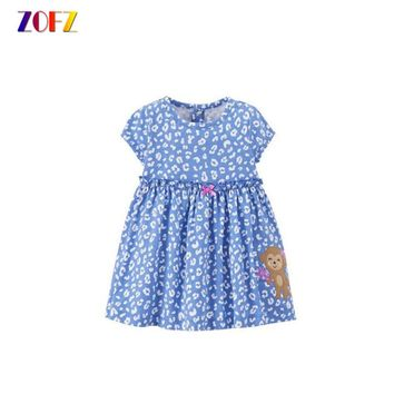 ZOFZ 2017 Baby Girl Dress for Bebes Cute Print Summer Dresses with Bow Tie Fashion O-Neck Clothing for Girls Babies Clothes