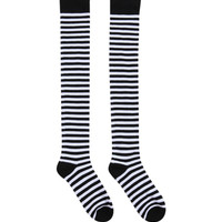 LOVEsick Black White Striped Over-The-Knee Socks