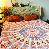 Mandala Bedsheet || Tapestry Throw || Decorative Wallhanging || Beach Throw || SUN RAY