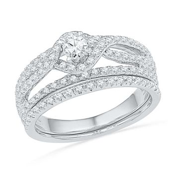 3/4 CT. T.W. Diamond Twist Halo Bridal Engagement Ring Set in 14K White Gold