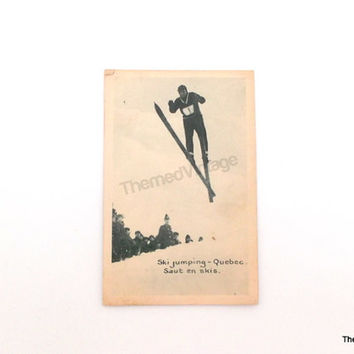 Vintage Postcard ski jumping Quebec Canada antique post card skiing skier