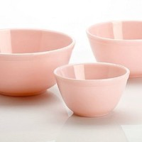 Mosser Glass Crown Tuscan Pink Glass Mixing Bowls by Mosser Glass