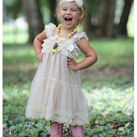 Champagne Chiffon Girls Dress- Flower Girl Dresses- Cream dress- Lace dress- Rustic Girls Dress- Baby Lace Dress- Junior Bridesmaid | From Bows To Toes