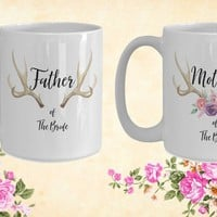 Mother and Father of the bride White Ceramic Coffee Mug  Wedding Gift   Engagement Gift   Anniversary  Newly Weds  Couple  Bride Groom