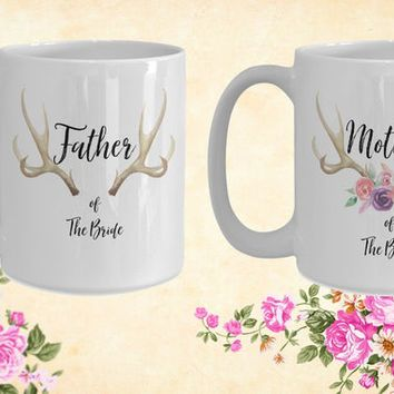 Mother and Father of the bride White Ceramic Coffee Mug |Wedding Gift | Engagement Gift | Anniversary| Newly Weds| Couple| Bride|Groom