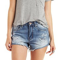 DOLLHOUSE HIGH-RISE MEDIUM WASH DENIM SHORTS