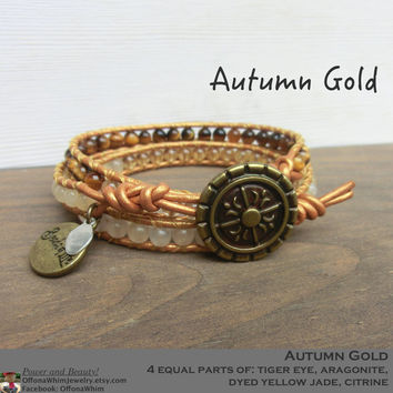 Autumn Gold Handmade Leather Wrap Layer Japanese Powerstone Bracelet Fall Browns Yellows Sunshine by Off on a Whim