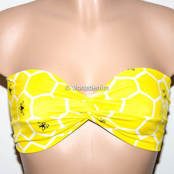 Yellow Bee Hive Twisted Bandeau, Swimwear Bikini Top, Twisted Top Bathing Suits, Spandex Bandeau Bikini