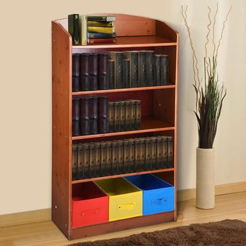 Yescom 5 Tier Wood Bookshelf Bookrack with 3 Non-woven Bins Storage Organizer Bookcase Shelving Home Furniture