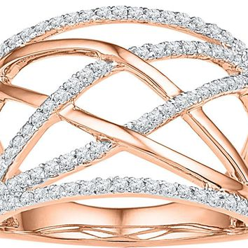 10kt Rose Gold Womens Round Diamond Criss Cross Crossover Cocktail Ring 1/3 Cttw