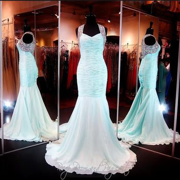 Halter Neckline Ruched Chiffon Aqua Mermaid Prom Dress Hand Beading Illusion Back Long Evening Dress Pageant Dresses