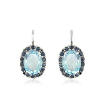 Forzieri Designer Earrings 0.58 ct Diamond Pave 18K Gold Earrings w/Blue Topaz